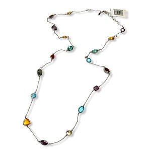 NWT ALAINN Long Multicolored Station Necklace